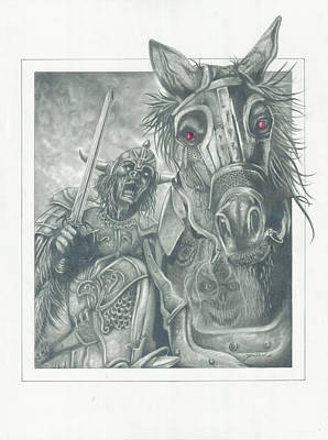 Horse Crazy Drawing - Night Rider by Julian  B