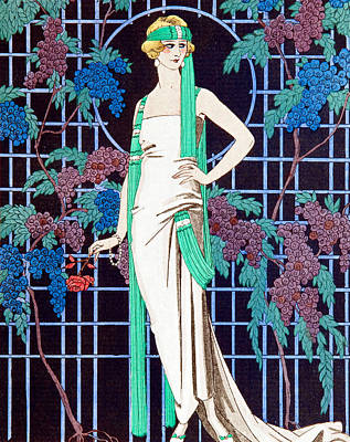 Scarf Drawing - Night Rose by Georges Barbier