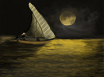 Digital Art - Night Sail by Dick Bourgault