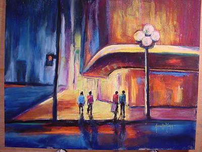 Night Scene Art Print by Annette Kagy