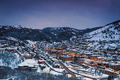 Mountain Royalty-Free and Rights-Managed Images - Night Scene in Park City by Johnny Adolphson