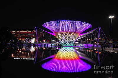 Expo Shanghai Photograph - Night Scene Of The World Expo Axis by Leanne Lei