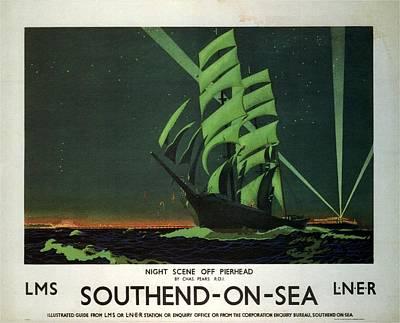 Mixed Media - Night Scene Off Pierhead - Southend-on-sea, England - Retro Travel Poster - Vintage Poster by Studio Grafiikka