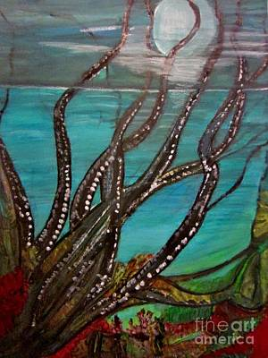 Black Painting - Night Sea by Stephanie Zelaya