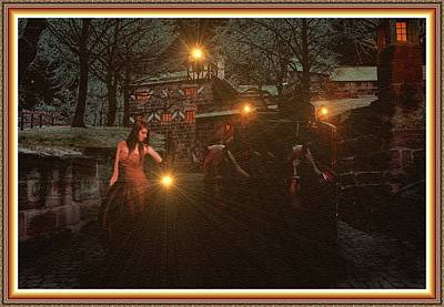 Roaring Red - Night Search - no 23 L B With Decorative Ornate Printed Frame. by Gert J Rheeders
