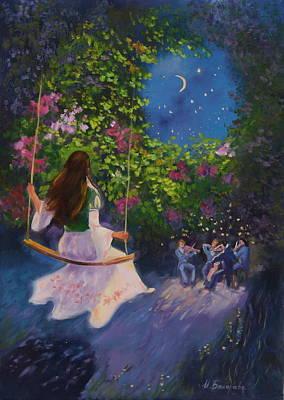 Girl On A Swing Painting - Night Serenade by Irina Bakhareva