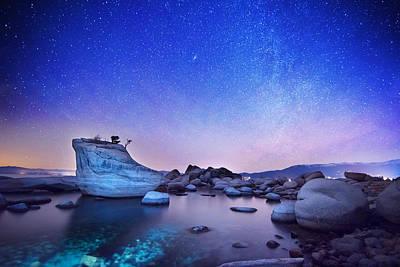 Bonsai Rock Photograph - Night Shine , Bonsai Rock Lake Tahoe by Brad Scott