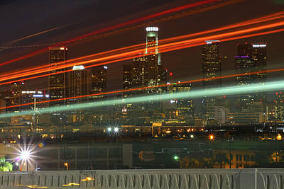 Photograph - Night Shot Of Downtown Los Angeles Skyline From 6th St. Bridge by Hold Still Photography