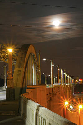 Photograph - Night Shot Of The Los Angeles 6th Street Bridge And Supermoon #4 by Hold Still Photography