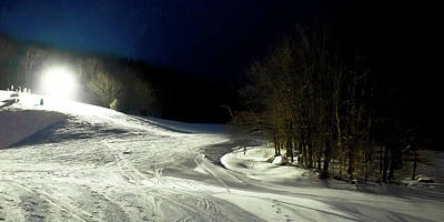 Snowy Night Photograph - Night Skiing At Mccauley Mountain by David Patterson