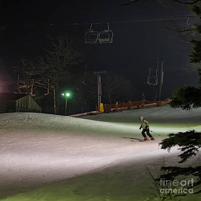 Photograph - Night Skiing by Lois Bryan