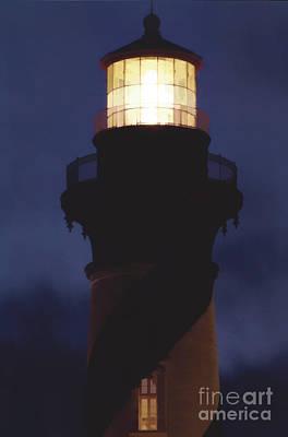 Photograph - Night Sky Lighthouse by D Hackett