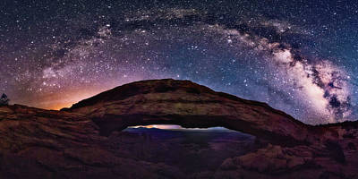 Digital Art -  Night Sky Over Mesa Arch Utah by LenaOwens