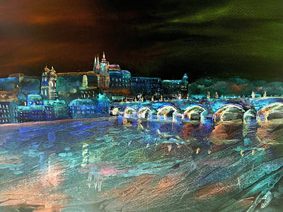 Mixed Media - Night Sky Over Prague by Elizabeth Lock