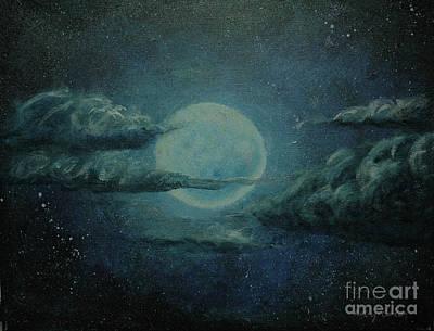 Eerie Painting - Night Sky Peek-a-boo by Kathy Carlson