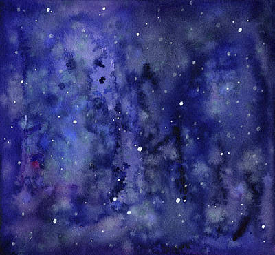Outer Space Mixed Media - Night Sky Watercolor Galaxy Stars by Olga Shvartsur