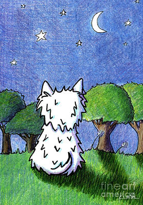Drawing - Night Sky Westie by Kim Niles
