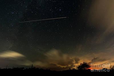 Photograph - Night Sky With Aeroplane Trail by Clayton Bastiani