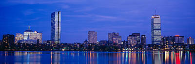 Charles River Photograph - Night, Skyline, Back Bay, Boston by Panoramic Images