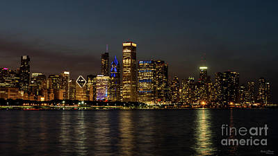 Photograph - Night Skyline Chicago Pano by Jennifer White