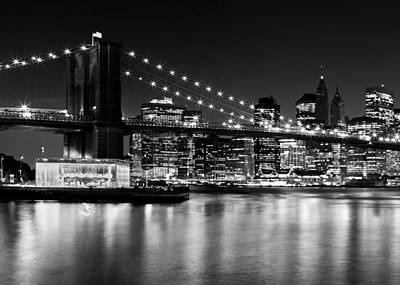 Night Skyline Manhattan Brooklyn Bridge Art Print