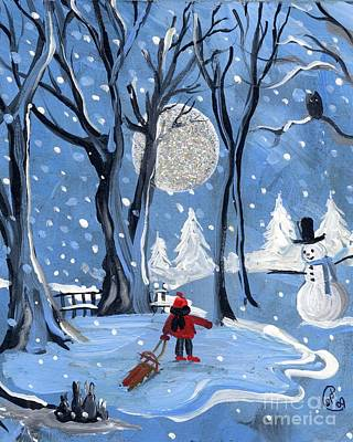 Night Sledding Print by Sylvia Pimental