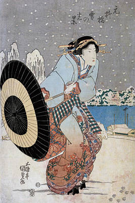 Wintry Drawing - Night Snow Scene At Motonoyanagi Bridge by Utagawa Toyokuni