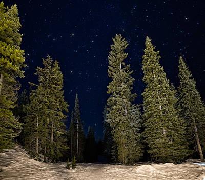 Snowy Night Photograph - Night Snowshoeing by James Wheeler