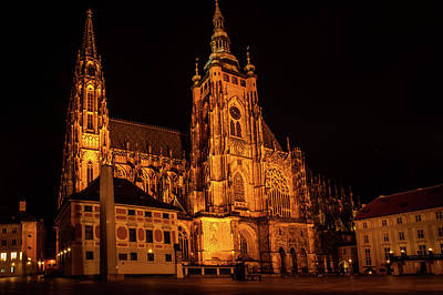Photograph - Night St. Vitus Cathedral In Prague by Jenny Rainbow