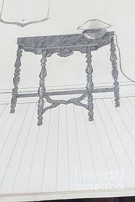Drawing - Night Stand With Lamp by Suzn Art Memorial
