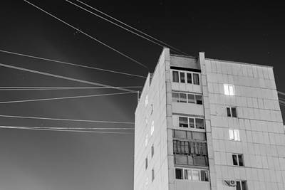 Photograph - Night Stars Soviet Style Building by John Williams