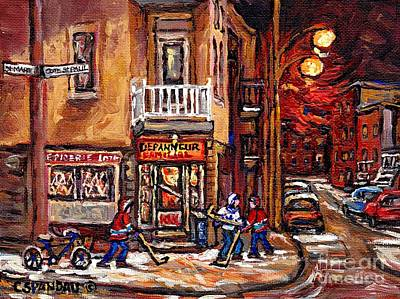 Montreal Memories. Painting - Night Street Hockey Game Painting Depanneur Familiale Ville Emard Cote St Paul Scenes Canadian Art  by Carole Spandau