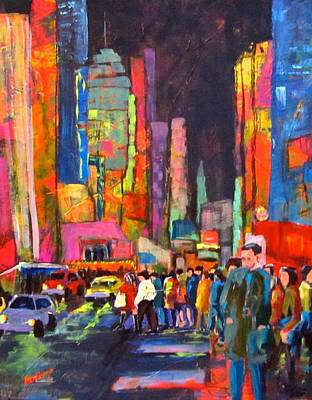 Painting - Night Street In Theater District by Barbara O'Toole