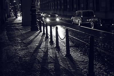Print featuring the photograph Night Street Of Prague by Jenny Rainbow