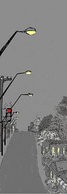 Night Streetscape Art Print by Bethwyn Mills