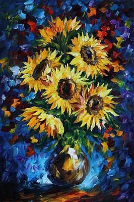 Night Sunflowers Art Print by Leonid Afremov