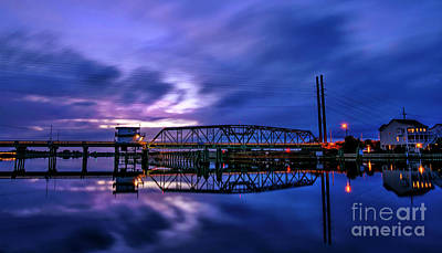 Night Swing Bridge Art Print