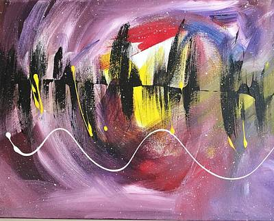 Abstract Painting -  Night Time Dance In Purple by Allison's Gallery