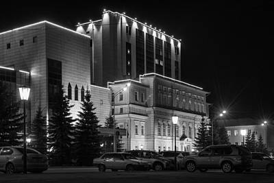 Photograph - Night-time Building In Monochrome by John Williams