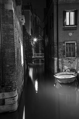 Photograph - Night Time Canal In Venice Italy  by John McGraw