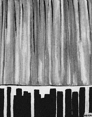 Night Time Downtown Art Print by Marsha Heiken