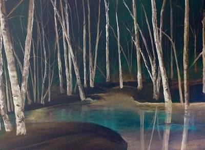 Painting - Night Time In The Woods by Ellen Canfield