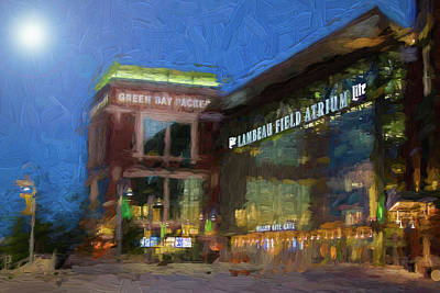 Art Print featuring the digital art Night Time Lambeau by Joel Witmeyer