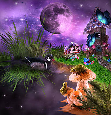 Digital Art - Night-time On Fairy Island by Artful Oasis
