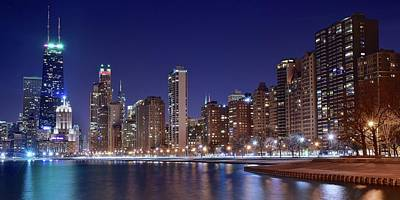 Photograph - Night Time Pano In Chicago by Frozen in Time Fine Art Photography