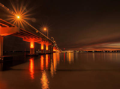 Photograph - Night Time Reflections At The Bridge by Dorothy Cunningham
