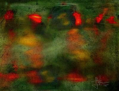 Digital Art - Night Traffic 2 by Jim Vance
