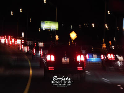 Photograph - Night Traffic #4871 by Barbara Tristan