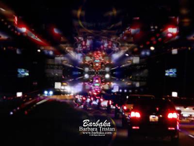 Photograph - Night Traffic #4873 by Barbara Tristan