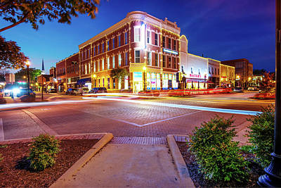 Photograph - Night Traffic - Downtown Bentonville Arkansas by Gregory Ballos